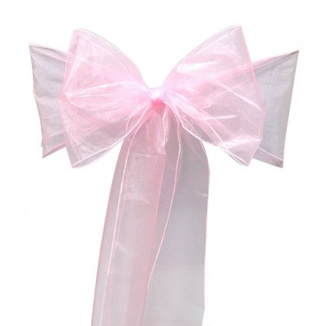 Noeud de chaise rose en organza pour mariage