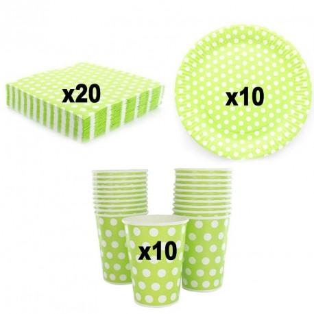 Service Vaisselle à pois Vert