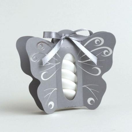 Boite à dragées papillon gris