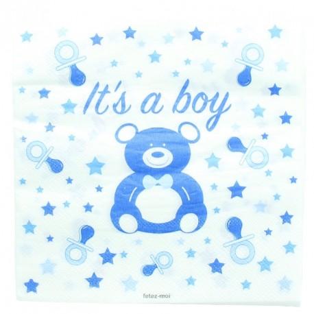 20 serviettes baby shower ou naissance garçon