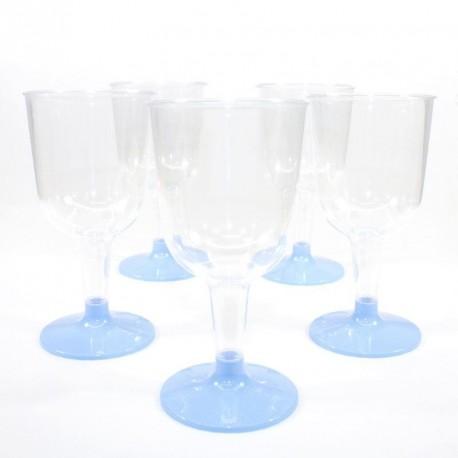 5 Verres à vin bleu ciel en plastique jetable