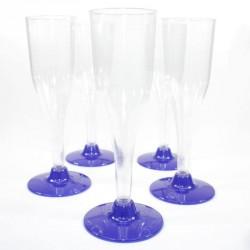 5 Flûtes à Champagne marine en plastique jetable