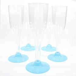 5 Flûtes à Champagne turquoise en plastique jetable