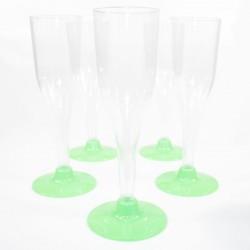 5 Flûtes à Champagne vertes en plastique jetable