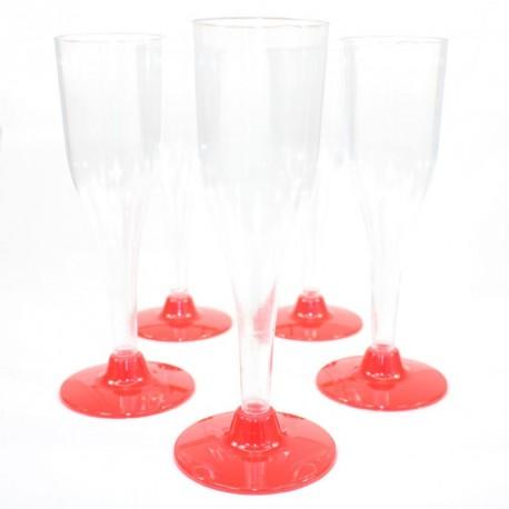 5 Flûtes à rouges en plastique jetable