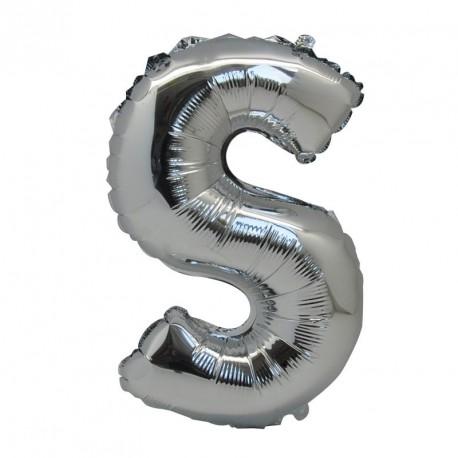 Ballon Lettre S métal argenté 36cm