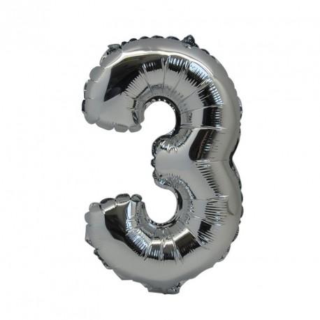 Ballon Chiffre 3 métal argenté 36cm