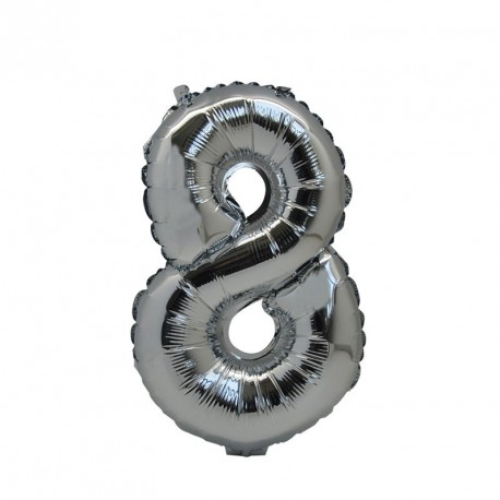 Ballon Chiffre 8 métal argenté 36cm