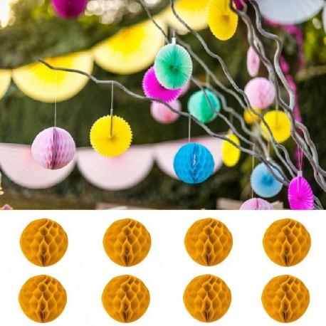 8 Boules Alvéoles 10 cm moutarde