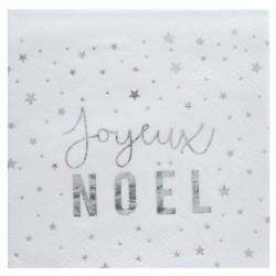 20 Serviettes papier Joyeux Noël Argent