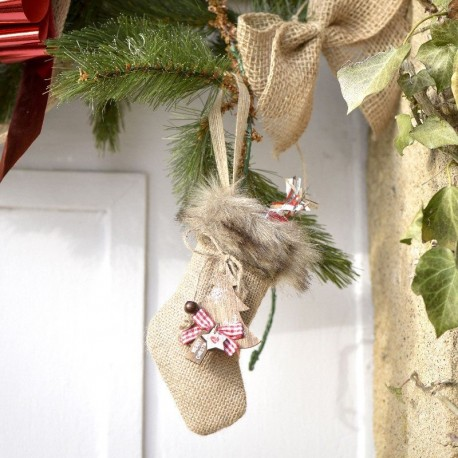 Suspension Noël chaussette et fourrure