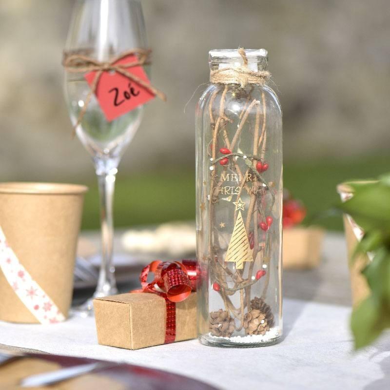Flacon lumineux en verre pour d coration de no l drag es - Decoration de noel en verre ...
