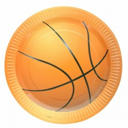 "10 Assiettes en carton jetables ""Basketball"""