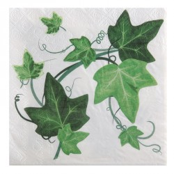 20 serviettes en papier imprimées Lierre