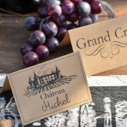 """10 marque place viticole """"Grand Cru"""" pouvant servir de souvenir à vos convives"""