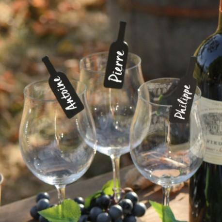 6 ardoises bouteille avec pince : à chacun son verre