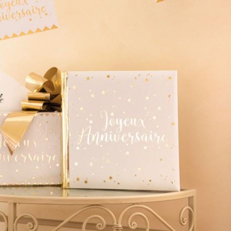 Livre d'Or Joyeux Anniversaire blanc et or pour recueillir les meilleurs souhaits de vos invités