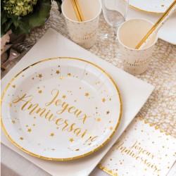 10 Assiettes Joyeux Anniversaire blanches et or pour un repas de fête réussi