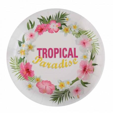 10 Assiettes thème Tropical, très résistantes et pratiques