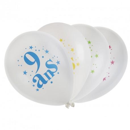 8 ballons Anniversaire 9 ans pour une ambiance à la fois cool et festive.