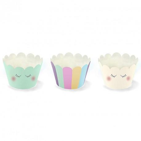 6 Cupcakes assortis thème Licorne pour de bons goûters ou desserts.