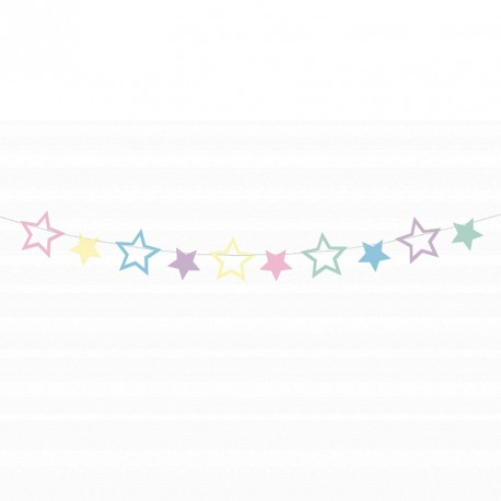 Guirlande étoile thème Licorne. Aux étoiles de multiples couleurs.