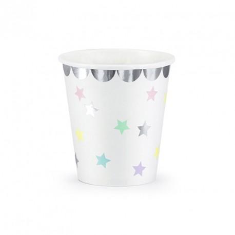 6 Gobelets thème Licorne, résistants et ornés d'étoiles multicolores.