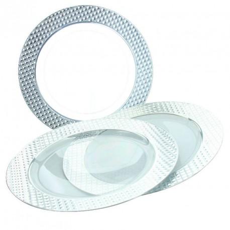 5 Assiettes transparentes bord argenté diamant, d'une élégante finition.