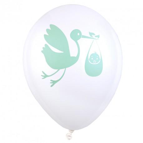 """8 Ballons vert d'eau baptême ou naissance imprimés """"Cigogne livrant un bébé""""."""