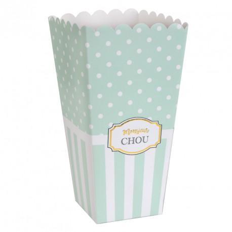 """8 boites Pop Corn """"Monsieur Chou"""" pour les gourmands."""