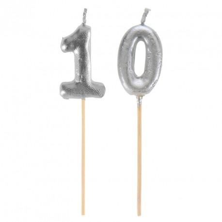 Bougies Joyeux Anniversaire 10 ans pour un petit plus au décor de vos tables de réception.