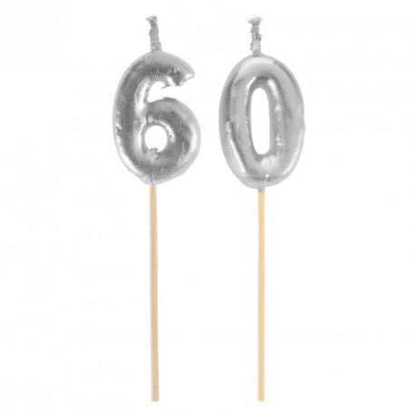Bougies Joyeux Anniversaire 60 ans pour décorer avec gaieté et bonne humeur votre gâteau d'anniversaire.
