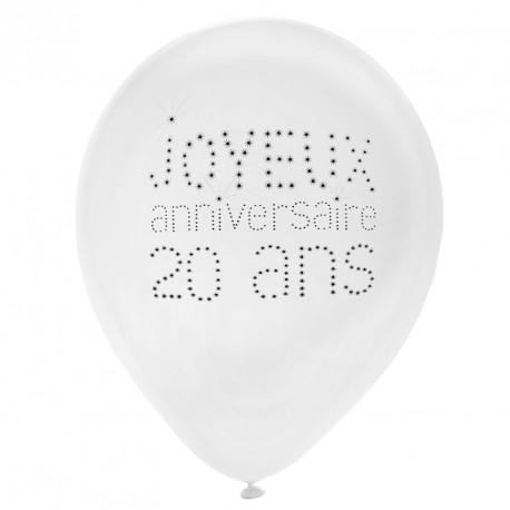 8 Ballons Anniversaire 20 ans résistants et décoratifs.