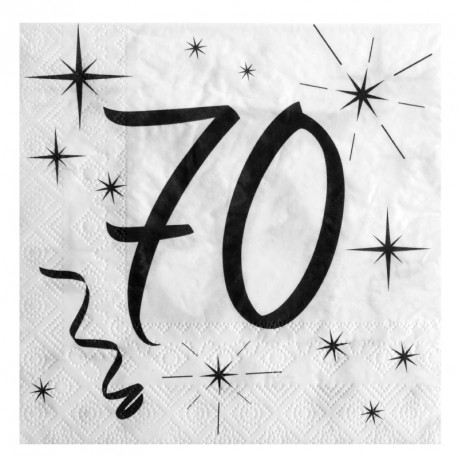 20 Serviettes Anniversaire 70 ans pratiques et aux imprimés soignés.