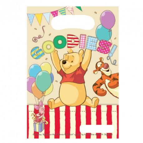 6 Sacs cadeaux Winnie l'ourson très jolis. Pour remercier vos invités.