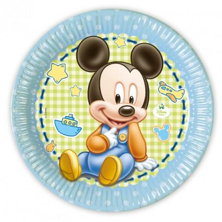 8 Assiettes Baby Mickey 23 cm pratiques, très résistantes, au design soigné.