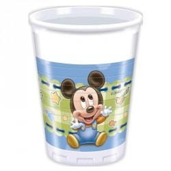 8 Gobelets Baby Mickey 20 cl très résistants. Idéals pour servir les boissons fraîches.