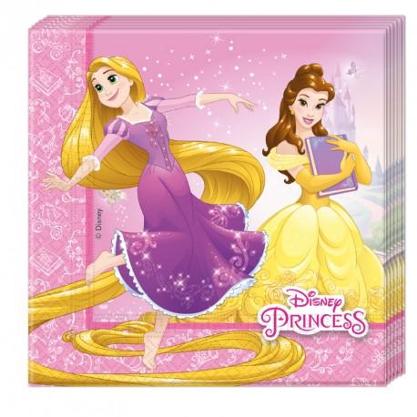 20 serviettes Princesses Disney 33x33cm 2 plis. Utiles et décoratives.
