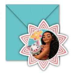 6 cartes d'invitation Vaiana + Enveloppe. De forme originale pour une fête originale.