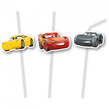6 Pailles Cars pour siroter les boissons tout en s'amusant avec le héros du film Cars.