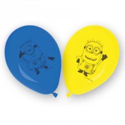 8 Ballons Les Mignons jaunes et bleus pour une fête plus décorée.
