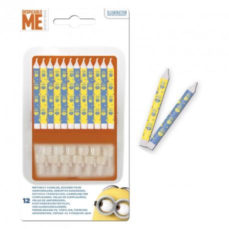 12 Bougies Les Mignons Anniversaire jaunes et bleues. Livrées aves 12 socles en plastique.