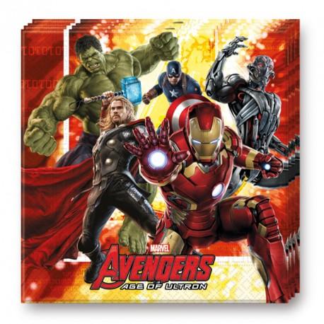 16 Serviettes Avengers en papier très résistantes et décoratives.