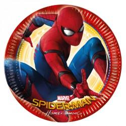 8 Assiettes Spiderman 23 cm pour décorer vos tables d'anniversaire autour du super-héros.