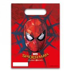 6 Sacs cadeaux Spiderman pour offrir des souvenirs personnalisés aux convives à la fin de l'anniversaire de votre garçon.