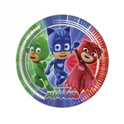 8 Assiettes Pyjamasques 23 cm pour surprendre votre enfant avec une décoration sur le thème de ses super-héros préféré.