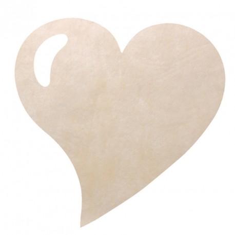 50 Sets de table cœur ivoire, en tissu non tissé polyester.