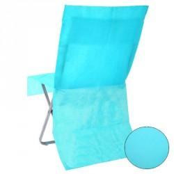 Housse de chaise jetable Turquoise Opaque pour évoquer l'évasion et l'exotisme dans votre salle de réception.