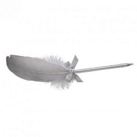 Stylo mariage Argenté avec plume, un accessoire pratique et décoratif.