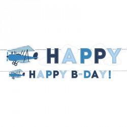 """Guirlande Avion """"Happy-B-Day"""" pour décorer une salle de fête autour du thème pilote."""